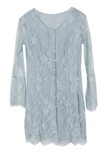 Front view of cadet grey lace button-front dress