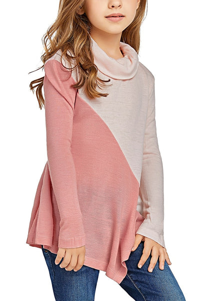 Front view of cute model poses wearing pink colorblock asymmetrical hem cowl-neck girl top