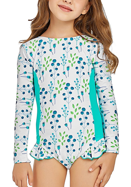 Mint Floral Long Sleeves Ruffled One-Piece Girls Rash Guard Swimsuit