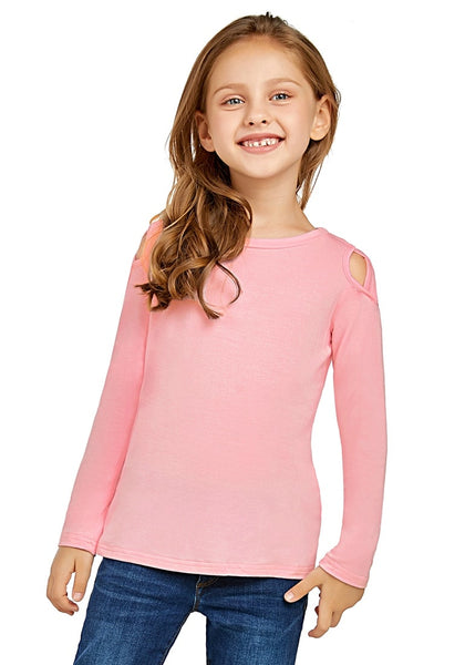 Front view of cute model wearing baby pink long sleeves crisscross cutout cold-shoulder girl top