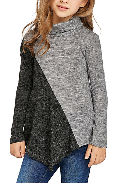Front view of cute model wearing grey colorblock asymmetrical hem cowl-neck girl top
