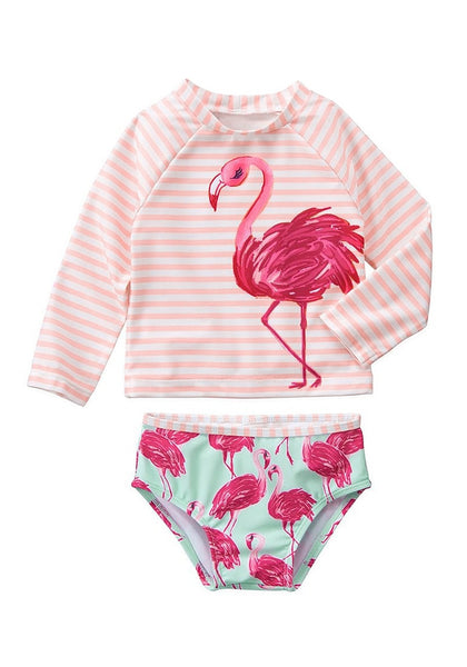 Front view of cute pink flamingo-print long sleeves baby rash guard set