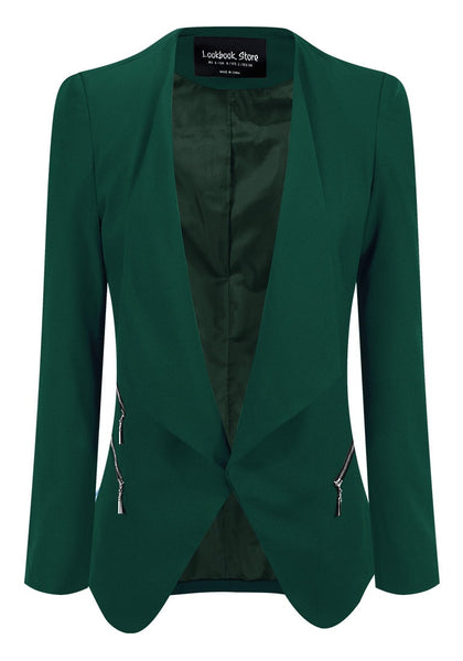 Front view of deep green draped blazer's 3D image