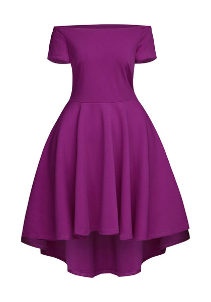 Front view of deep orchid off-shoulder high-low skater dress's 3D image