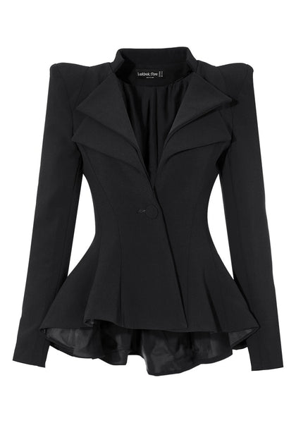 Front view of double lapel fit-and-flare blazer - black