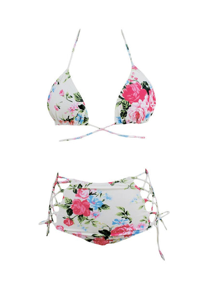Front view of floral print high waist bikini set's 3D image