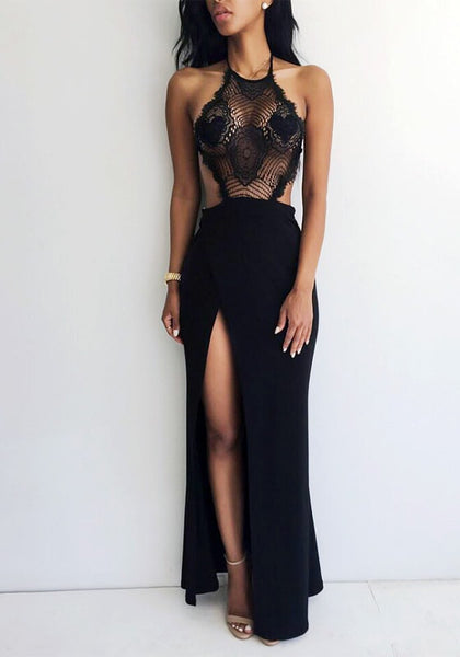 Front view of girl in black lace halter neck gown