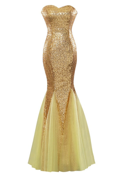 Front view of gold sequin mermaid evening gown