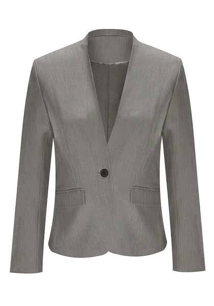 Front view of grey V-neckline single button blazer's image
