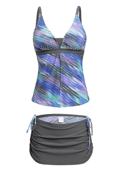 Front view of grey and blue abstract-print skirtini set's 3D image