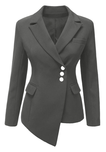 Front view of grey asymmetrical side buttons blazer's 3D image