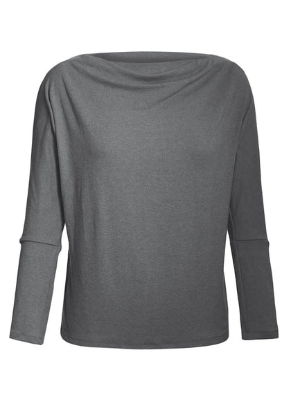 Front view of grey boat neck long sleeves pullover top's 3D image
