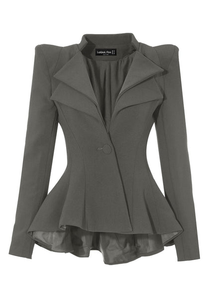 Front view of grey double lapel fit-and-flare blazer