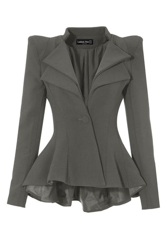 Grey Double Lapel Fit-and-Flare Blazer
