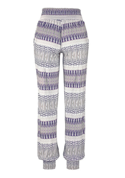 Front view of grey ethnic-print straight cut smocked pants' 3D image