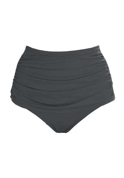 Front view of grey high waist ruched swim bottom's 3D image