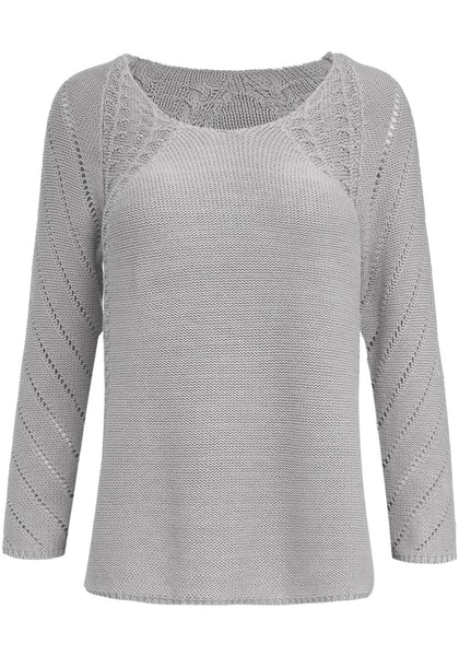 Front view of grey hollow out cotton sweater's 3D image