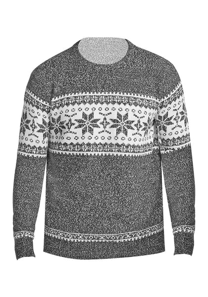 Front view of grey melange snowflake men's Christmas sweater 3D image