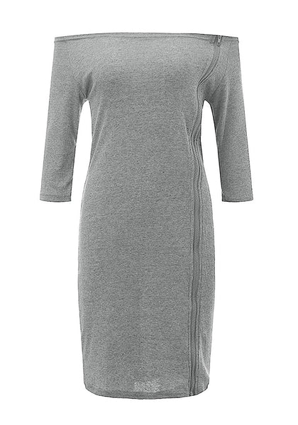 Front view of grey side-zip long sleeves off-shoulder dress' 3D image