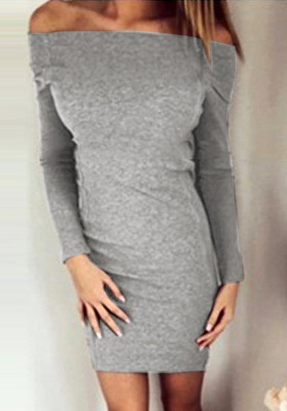 Front view of model wearing grey side-zip long sleeves off-shoulder dress