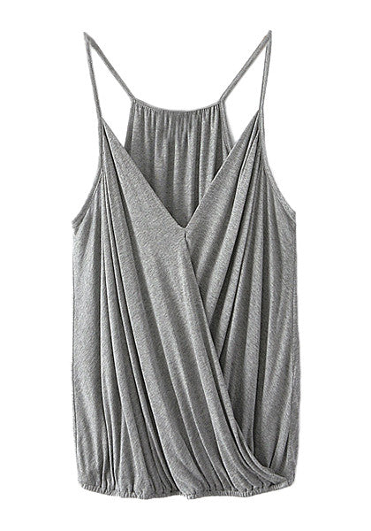 Front view of grey surplice cami top