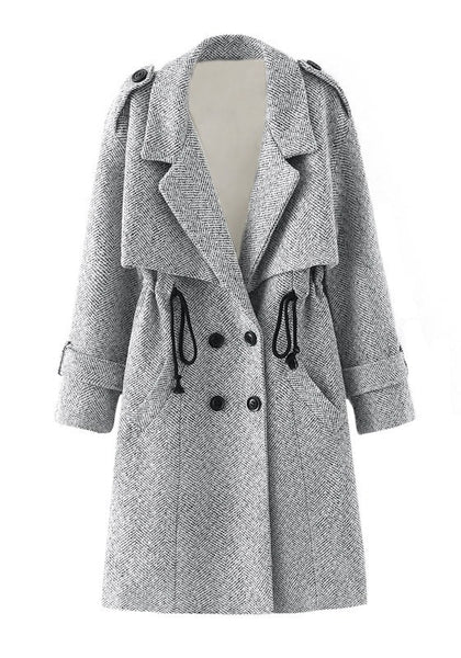 Front view of grey woven trench coat