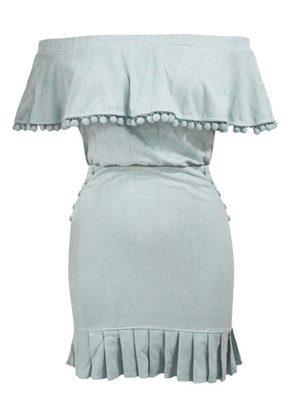Front view of light blue ruffled off-shoulder pompom dress' 3D image