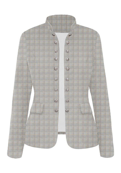 Front view of light grey stand collar open-front blazer's image