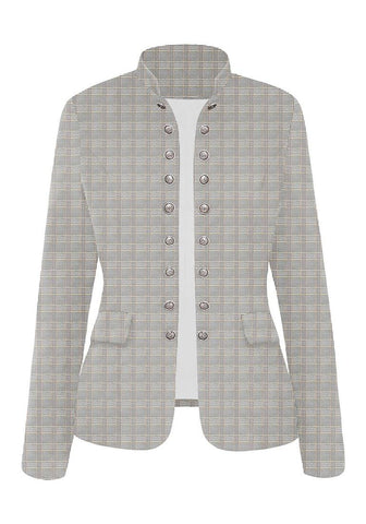 Light Grey Plaid Stand Collar Open-Front Blazer