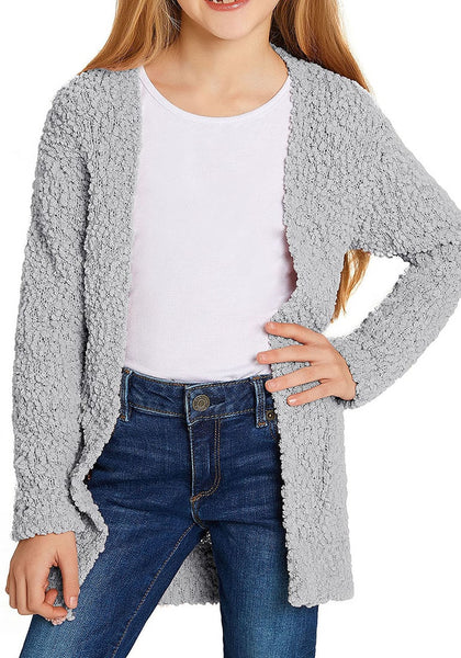 Front view of little girl in grey fuzzy fleece open-front girls cardigan