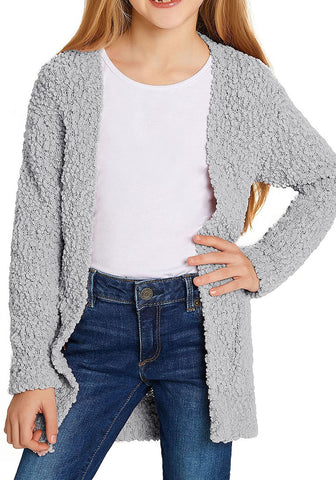 Grey Fuzzy Fleece Open-Front Girls Cardigan