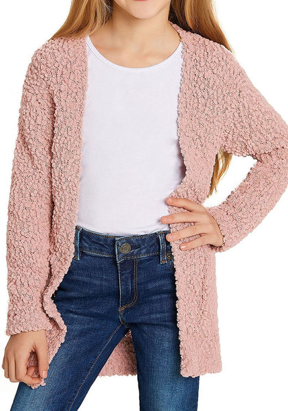 Front view of little girl in mauve pink fuzzy fleece open-front girls cardigan