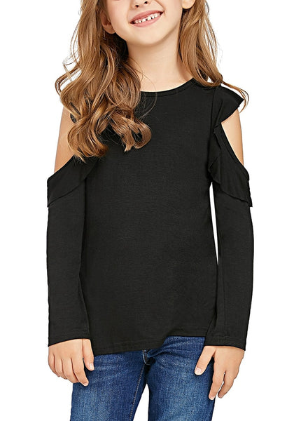 Front view of little girl wearing black melange long sleeves ruffled cold-shoulder girl top