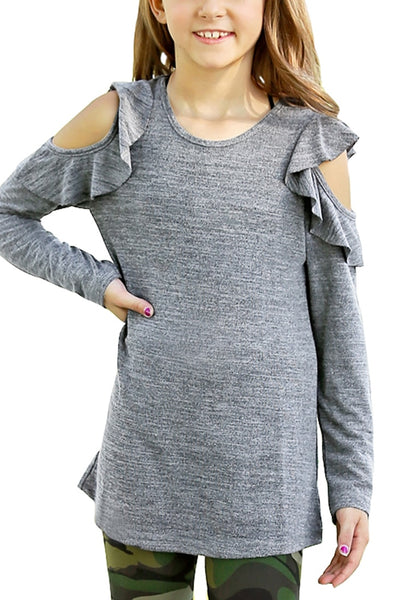Front view of little girl wearing grey melange long sleeves ruffled cold-shoulder girl top