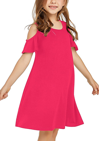 Front view of little girl wearing hot pink cold shoulder ruffle short sleeves girl tunic dress