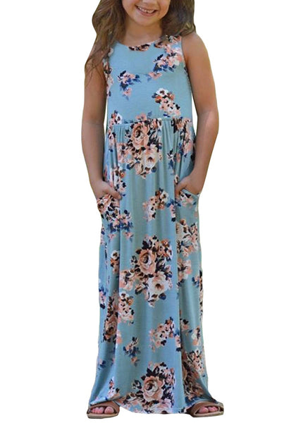 Front view of little girl wearing light blue crew neckline sleeveless floral maxi girl dress