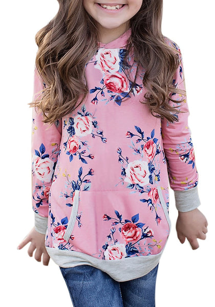 Front view of little girl wearing pink floral print  pullover pocket girl hoodie