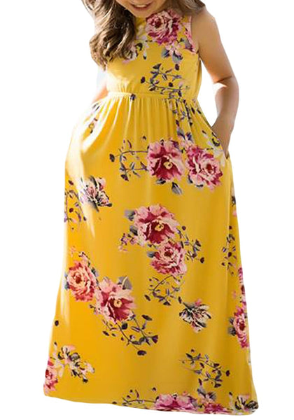 Front view of little girl wearing yellow crew neckline sleeveless floral maxi girl dress