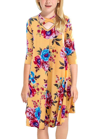 Yellow Crisscross-Front Crop Sleeves Loose Floral Girl Dress