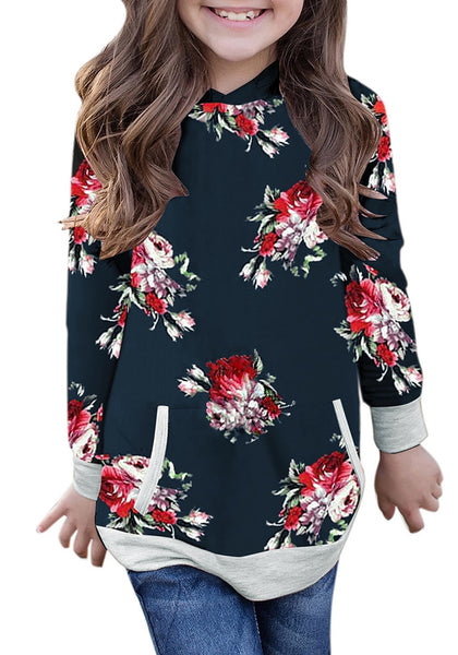 Front view of little model navy floral print pullover pocket girl hoodie