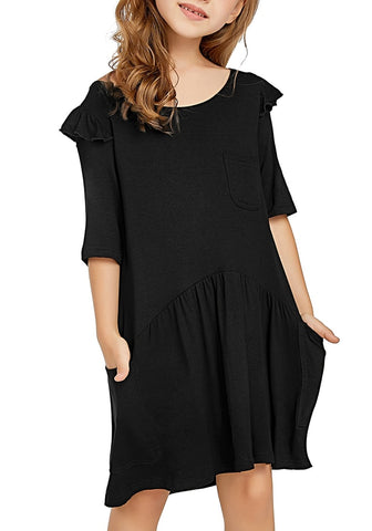 Black Ruffled Half Sleeves Pockets Short Girl Dress