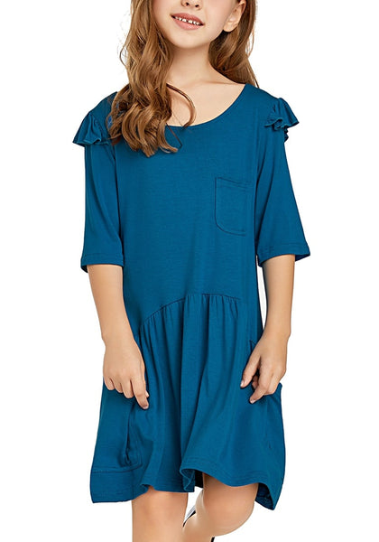 Front view of little model wearing blue ruffled half sleeves pockets short girl dress