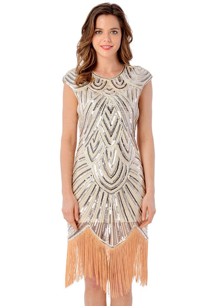 Front view of model in apricot sequin fringed flapper dress