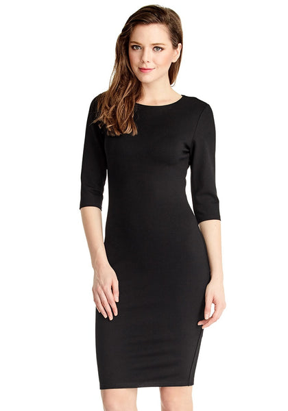 Front view of model in black classic bodycon midi dress