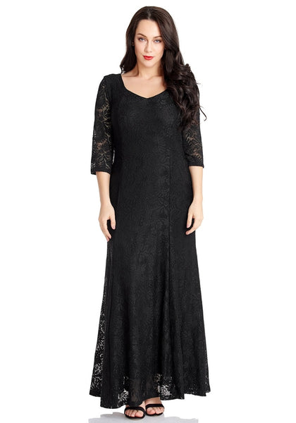 Front view of model in black floral lace overlay sweetheart neckline maxi dress