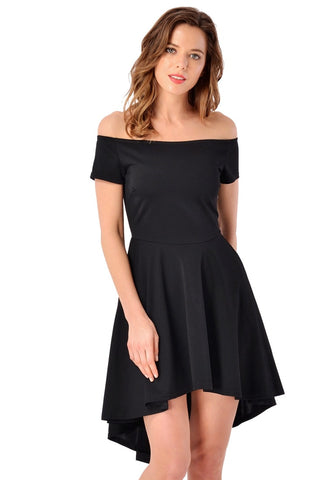Black Off-Shoulder High-Low Skater Dress