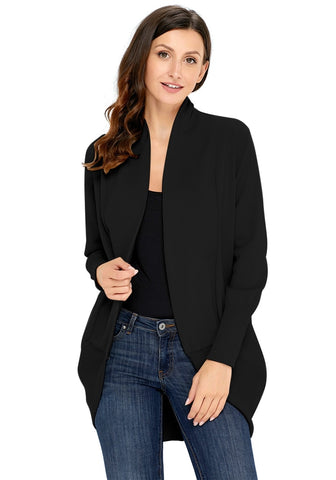 Black Ribbed Cuff Asymmetrical Hem Cardigan