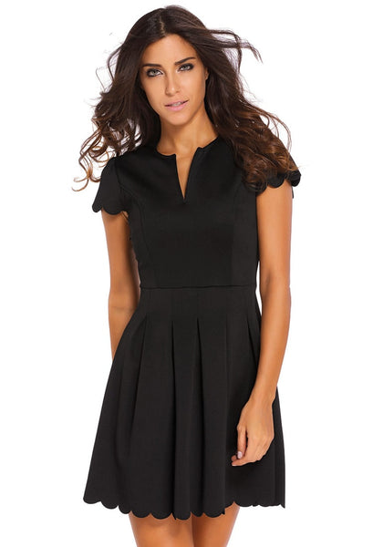 Black Scallop Hem Skater Dress