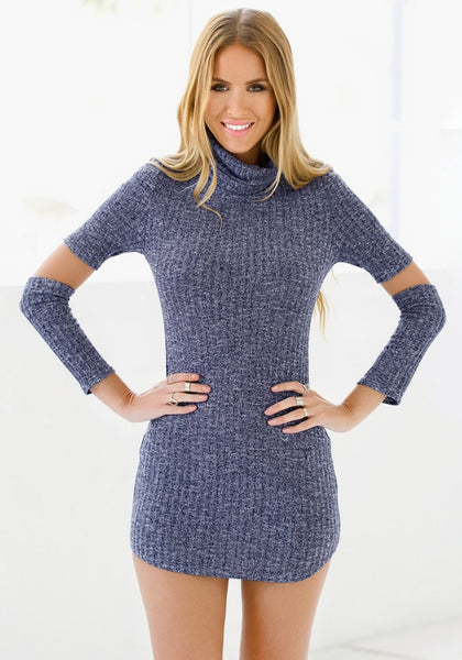 Front view of model in blue melange turtleneck tunic