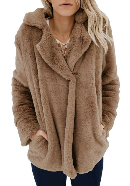 Front view of model in brown notch collar oversized fleece jacket